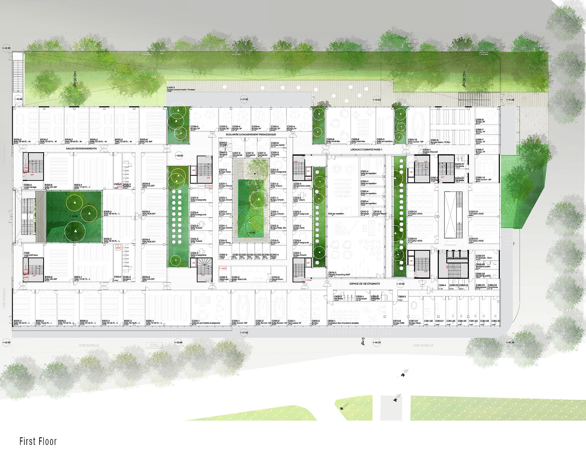 First Floor - Condorcet Campus - Josep Lluís Mateo