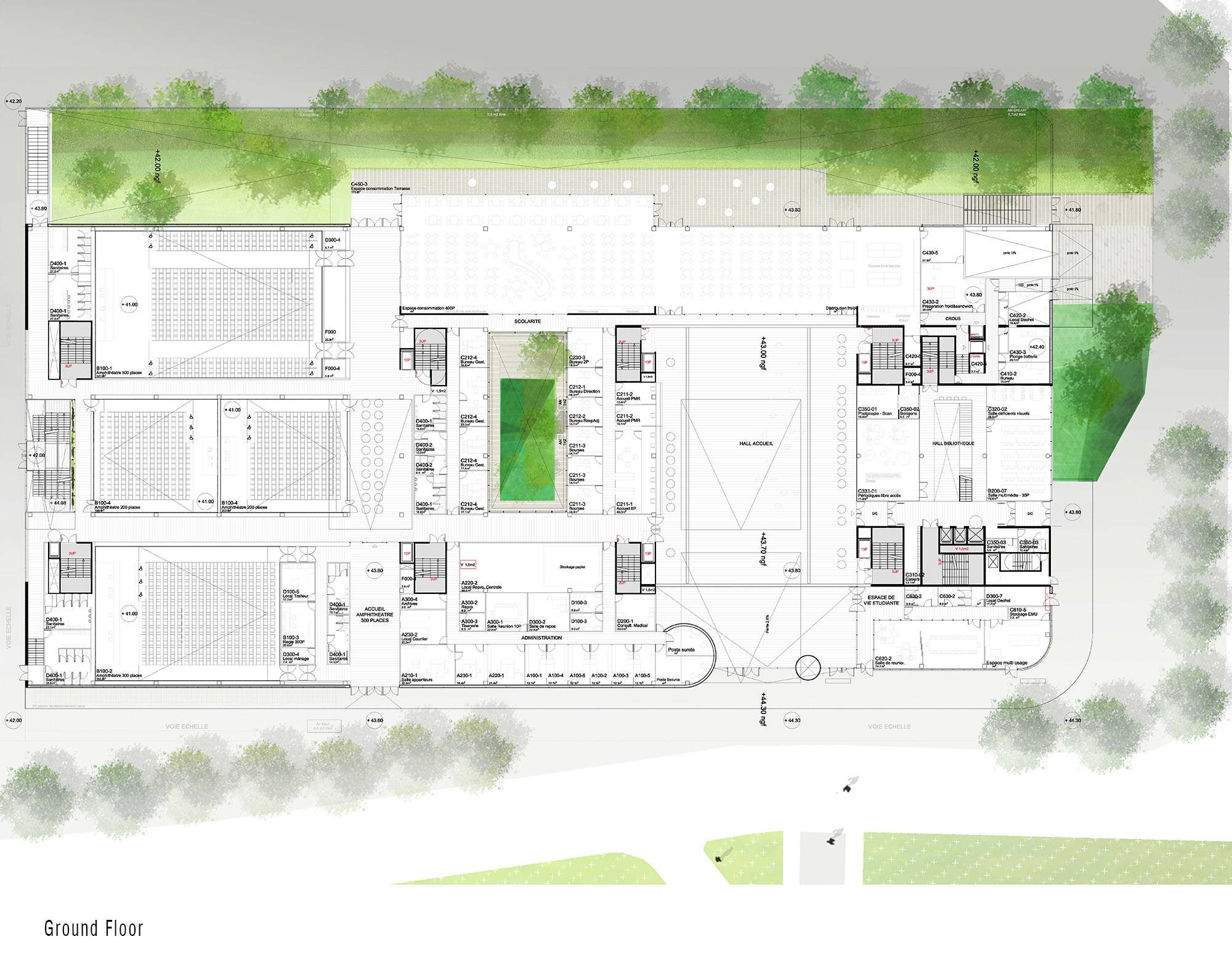 Ground Floor - Condorcet Campus - Josep Lluís Mateo